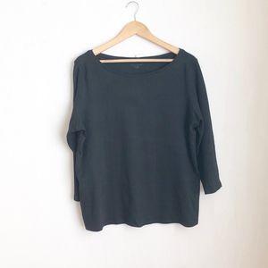 Eileen Fisher black blouse organic cotton sz:XL